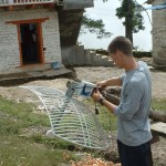 Preparing radio and antennae in Nangi, Nepal.